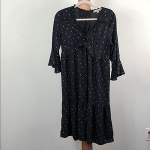 Loft Peasant Black dress Rose detailing Size M